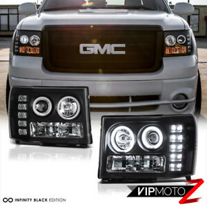 2007 2013 Gmc Sierra 1500 2500hd Ccfl Halo Black Projector Led Headlights Pair
