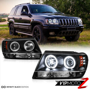 the Brightest Ccfl Halo Ring For 99 04 Jeep Grand Cherokee Black Led Headlight
