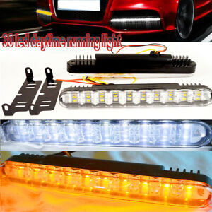 2pc 12w 30led Daytime Running Light Drl Fog White Lights Amber Turn Signal 12v