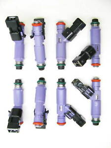 Set Of 8 Brand New 24 Lb Ford Racing Fuel Injectors W adapters M 9593 lu24a