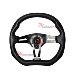 350mm Jdm Racing Steering Wheel Black Pvc Red Stitch W red H Emblem