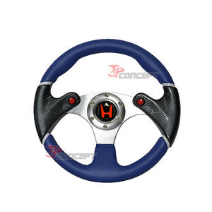 320mm Jdm Racing Sport Steering Wheel Blue Pvc Leather Carbon Fiber Blue Stitch