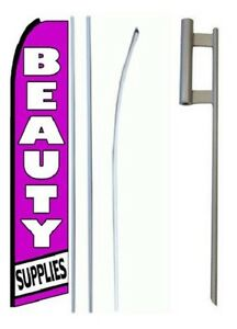 Beauty Supplies King Size Swooper Flag Sign W complete Set