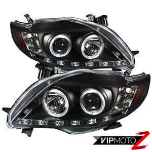 For 09 10 Toyota Corolla Ce xle Black Halo Angel Eye Projector Headlight Lh rh