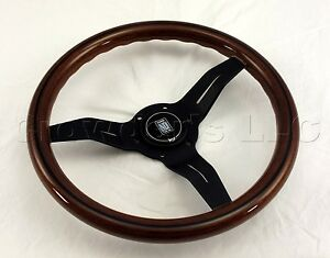 Nardi Steering Wheel Deep Dish Corn 330 Mm Mahogany Wood Black Type A Horn