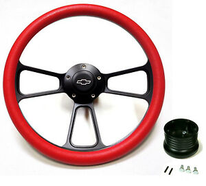 1969 1970 1971 1972 Chevelle Steering Wheel Black Billet Red Full Install Kit