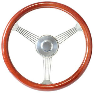 Ford Hot Rod 15 Mahogany Banjo Steering Wheel With Stainless Steel Spokes