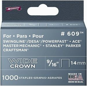 Arrow 60930 12 Pack 9 16in 1000 Pieces Wide Crown Swingline Heavy Duty Staples