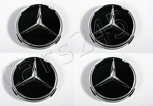 Genuine Wheel Center Hub Cap Star Black Chrome Covers 4x Set Mercedes 66470200
