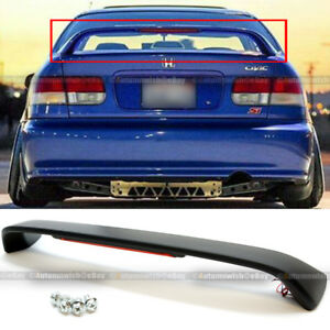 For 96 00 Honda Civic 2dr Primered Black Trunk Spoiler Wing Led Brake Light Lamp