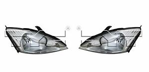 For 2000 2002 Ford Focus Halogen Headlights Head Lamps Driver Passenger Lh Rh