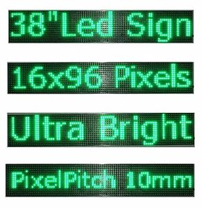 38 x 6 5 Led Sign Programmable Scrolling Window Message Display Green Color P10