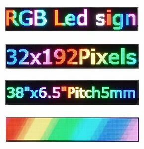 2pcs 38 x 6 5 Rgb Full Color Led Sign Programmable Scrolling Message Display