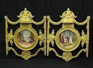 Antique Palatial 19c Neoclassical Carved Frames Signed Dubois Limoges Charger
