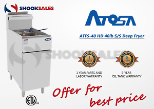 Atosa Atfs 40 ng 40lb Commercial Restaurant Fryer Nat Gas Free Freight Etl Nsf