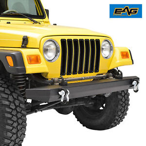 Eag 87 06 Jeep Wrangler Tj Yj Front Bumper W D Ring Black Textured Rock Crawler