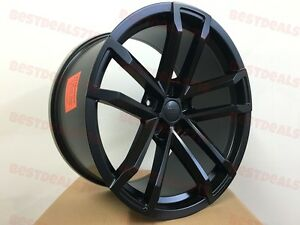 Four 20x9 10 Satin Black Concave Zl1 41 Style Rims Wheels Fits Chevy Camaro New