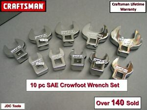 Craftsman 10 Pc 3 8 Drive Standard Sae Crowfoot Wrench Set 3 8 1