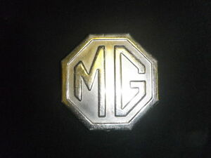 Vintage Mg Large Hexagon Ornament Metal Badge Emblem