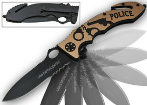 Gold POLICE Rescue Pocket Knife Spring Assisted Open Tactical Knives $9.51