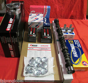 Ford 351c 4 Bbl Master Engine Kit Flat Top Pistons Rings Cam Lifters Timing
