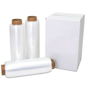 15 X 1500 80 Gauge 4 Rolls Pallet Wrap Stretch Film Hand Shrink Wrap 1500ft