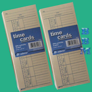 1000 Ct Time Cards Punch Employee Payroll Amano Clock 2 Sided Adams 9664a New