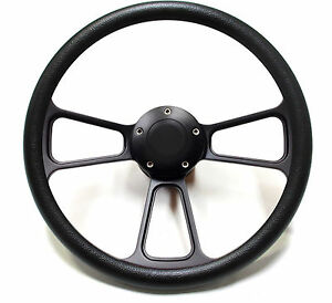 Hot Rod Street Rod Rat Rod Truck Powder Coated Black Billet Steering Wheel