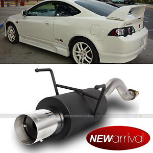 Fit 02 06 Rsx Type S Bolt On Axle Back Black Exhaust Muffler Chrome Tip