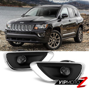 For 2011 2012 2013 Jeep Grand Cherokee Wk2 Chrome Bezel Trim Projector Fog Light