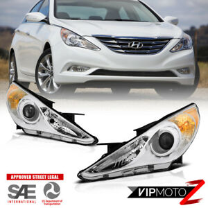 For 11 14 Hyundai Sonata factory Replacement Projector Chrome Headlight Lamp