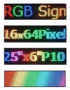 2pcs 25 x 6 Rgb Full Color P10 Led Sign Programmable Scrolling Message Display