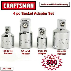Craftsman Tools 4 Pc Adapter Set 1 4 3 8 1 2 Ratchet Wrench Socket Drive 6