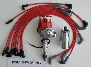 Ford 351w Windsor Red Small Cap Hei Distributor Chrome Coil Spark Plug Wires