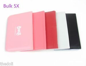 Pack 5 Mix Color Business Card Holder 12 Card Slots Pu Leather Wallet