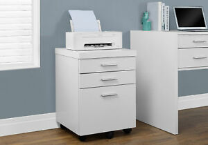 Monarch Specialities Filing Cabinet 3 Drawer White On Castors i 7048