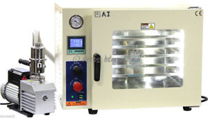 Ai 220v 5 Sided Gas filled 1 9 Cf Vacuum Oven W 6 Cfm Easyvac Pump