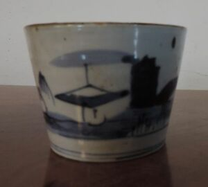 Antique Japanese Porcelain Tea Sake Wine Cup Blue And White Landscape 19th C