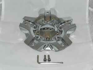 Boss Motorsports Series 334 Chrome 3261 Wheel Rim Center 1 Cap W 2 Screws