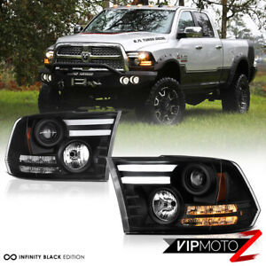 2009 2018 Dodge Ram 1500 2500 3500 Tribal Version Black Led Drl Headlights Set