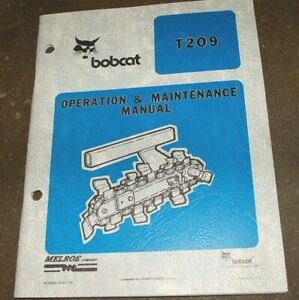 Bobcat T209 Walk Behind Trencher Owner Operation Maintenance Operator Manual Oem