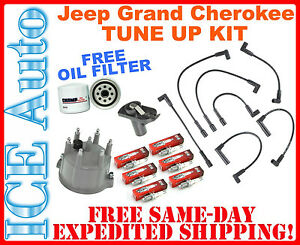 Free Oil Filter Tune up Kit 1994 1998 Jeep Grand Cherokee Plugs Wires Cap Rotor