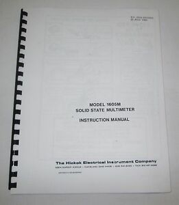 Hickok 1605m Solid State Multimeter Instruction service parts Manual 36 Pages