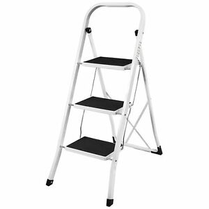 3 Step Ladder Anti slip Mat Folding Iron Strong Safe Stool Diy By Home Discount