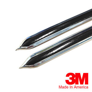 Vintage Style 5 8 Black Chrome Side Body Trim Molding Formed Pointed Ends