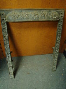 Antique Late 1800 S Cast Iron Ornate Fireplace Insert Cover Frame Floral