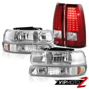 1999 2000 2001 2002 Chevy Silverado Signal Bumper Headlights Led Red Taillights