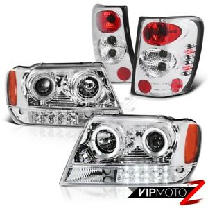 For Jeep 99 04 Grand Cherokee Wj Wg Chrome Led Projector Headlight tail Light