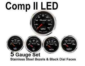 Comp Ii 2 Sport Led 5 gauge Auto Gauge Meters Set Black With Stainless Steel Usa