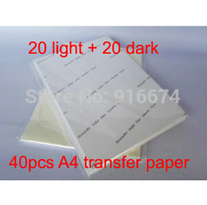 Sale 40 Sheets A4 T shirt Inkjet Heat Transfer Printing Paper Heat Press